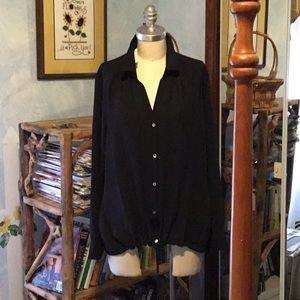 NWT Black Blouson blouse by J Jill